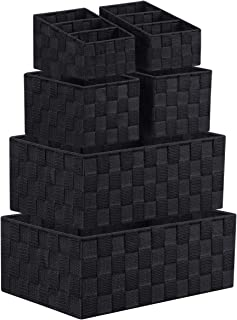 LEAVINSKY Woven Storage Box Cube Basket Bin Container, Black Woven Bin, Stackable Storage Basket Woven Strap Shelf Organizer, Nylon Storage Basket for Closet, Shelf, Office, Set of 6, Black