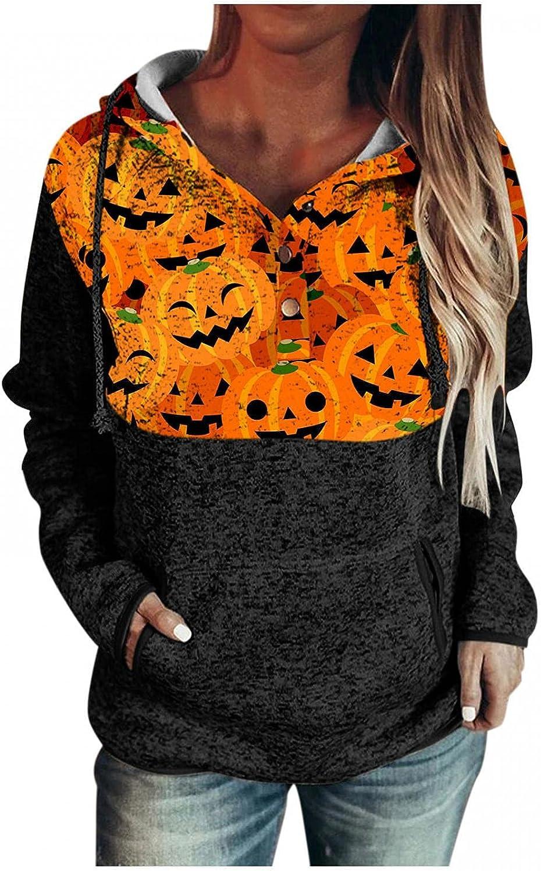 AODONG Women's Lightweight Halloween Print Hoodies Sweaters Drawstring Loose Long Sleeve V Neck Pullover Sweatshirts