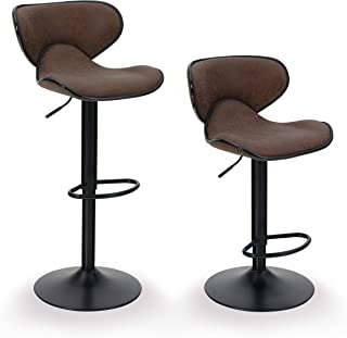 ALPHA HOME Bar Stools Counter Height Adjustable Swivel Bar Chair Modern Pu Leather Kitchen Counter Stools Dining Chairs Set of 2,350 lbs Capacity ,Brown
