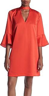 Choker Neckline Bell Sleeve Dress Red Large