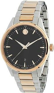 MOVADO Quartz Black Dial Rose Gold & Silver Two-Tone Bracelet Men's Watch 0607359