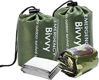 BesWlz Emergency Sleeping Bags, Survival Bivvy Sack Lightweight,Waterproof Portable Mylar Survival Gear for Outdoor Campin...