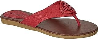 Limit-11 Women's Vegan Leather Ornamented T-Strap Thong Flats Sandals