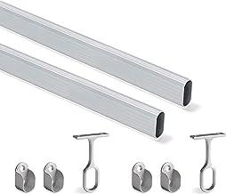 Emuca - Kit de barra de armario oval 1150mm y soportes, anodizado mate, Lote de 2