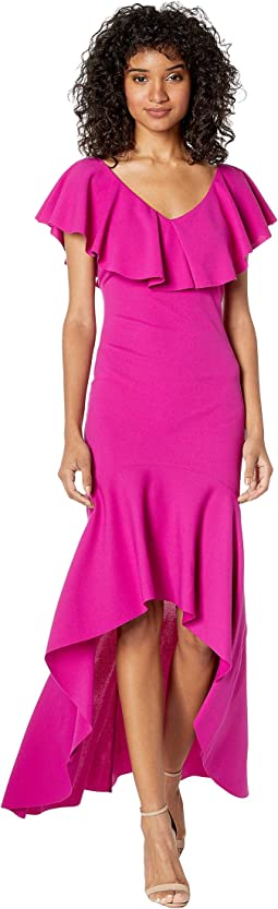 Ruffle Shoulder High-Low Maxi Dress