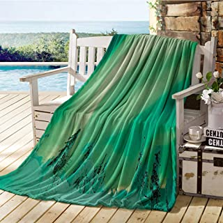 Miles Ralph Northern Lights, Throw Blanket Holder for Living Room, Poles Sky Display Over ICY Snowy Pine Trees Wanderlust Iceland Panorama, Lightweight Blanket 90x70 Inch Fern Green