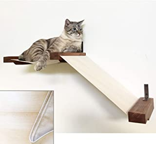 CatastrophiCreations Fabric Raceway Hammock Lounger Wall-Mounted Cat Shelving,Unfinished/Natural,Small