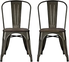 DHP Fusion Metal Dining Chair with Wood Seat, Distressed Metal Finish for Industrial Appeal, Set of two, Copper