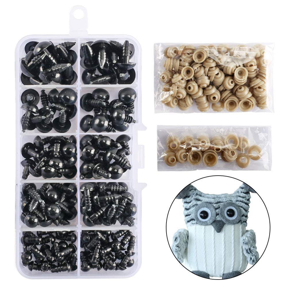 264PCS 10//12mm Colorful Safety Eyes 6-12mm Plastic Black Eyes with Washers for Teddy Bear Doll Plush Animals Toys Solid Safety Eyes Buttons Puppet Crafts