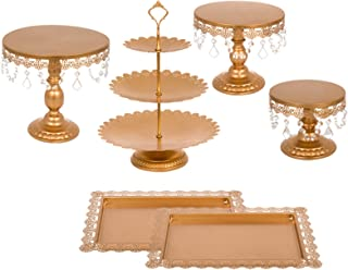 Happybuy 6 PCS Antique Metal Cake Stand Set with Crystal Pendants and Beads 3-Layer Tower Cake Plate Rectangle Cake Pans Round Dessert Holder Cupcake Stands for Party Wedding Birthday (6PCS, Gold)