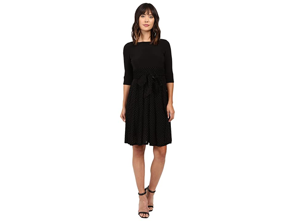 Adrianna Papell Velvet Burnout Party Dress Fit and Flare (Black) Women