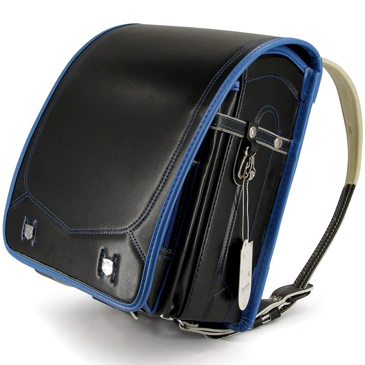 エコー誰でもツーリスト型崩れ防止強化 2019年 No.1強化レザー 傷に強い ランドセル 男の子 特典多数 高級合皮 大容量 ワンタッチロック 軽量 japanese schoolbag A4フラットファイル対応 小学生通学鞄 6年間保証付き シンプル ブッラク (ブラック×ブルー糸)