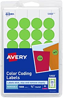 Avery Removable Print or Write Dot Stickers 3/4 Inch, Neon Green, Pack of 1008 Round Stickers (5468)