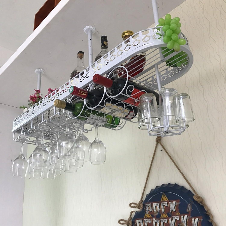 WAN SAN QIAN- Metal Wall Mount Wine Rack Hanging Bar Glass Rack Hanging Bottle Holder Adjustable (White) Wine rack (Size   L)