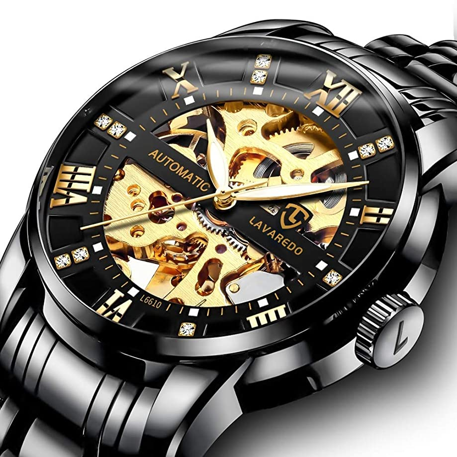 Men's Watch Luxury Mechanical Stainless Steel Skeleton Waterproof Automatic Self-Winding Luminous Diamond Dial Wrist Watch