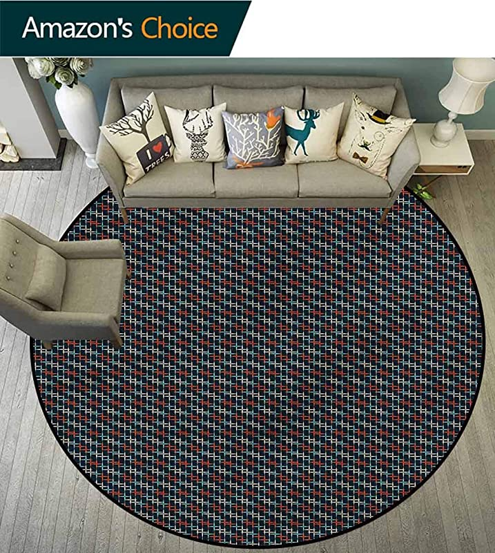 Abstract Modern Flannel Microfiber Non Slip Machine Round Area Rug Starry Night Theme Pattern Protect Floors While Securing Rug Making Vacuuming Diameter 24