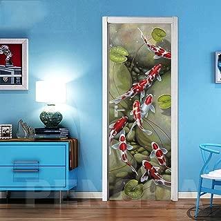 CHUANMT Etiquetas engomadas Pared Puerta 3D Etiquetas engomadas desprendibles Vinilo Papel Pintado 90x210cm Lindo pez de Colores para la decoración casera, Autoadhesivo Impermeable