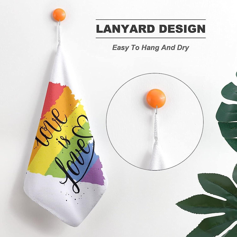 LGBT Gay Lesbian Parade Love Valentines Super Soft Hand Towels Unisex Handkerchiefs Hankie for Sports Kitchen Bath