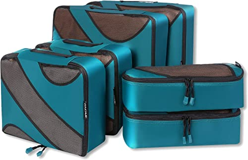 Bagail 6 Set Packing Cubes,3 Various Sizes Travel Luggage Packing Organizers (Teal)
