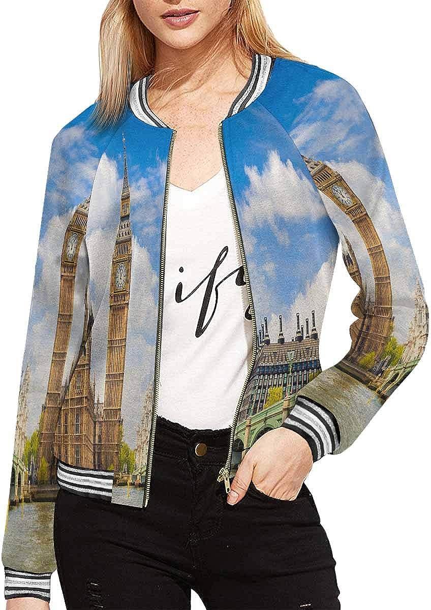 InterestPrint Women's Jacket Zipper Coat Outwear Sports Black Blouse