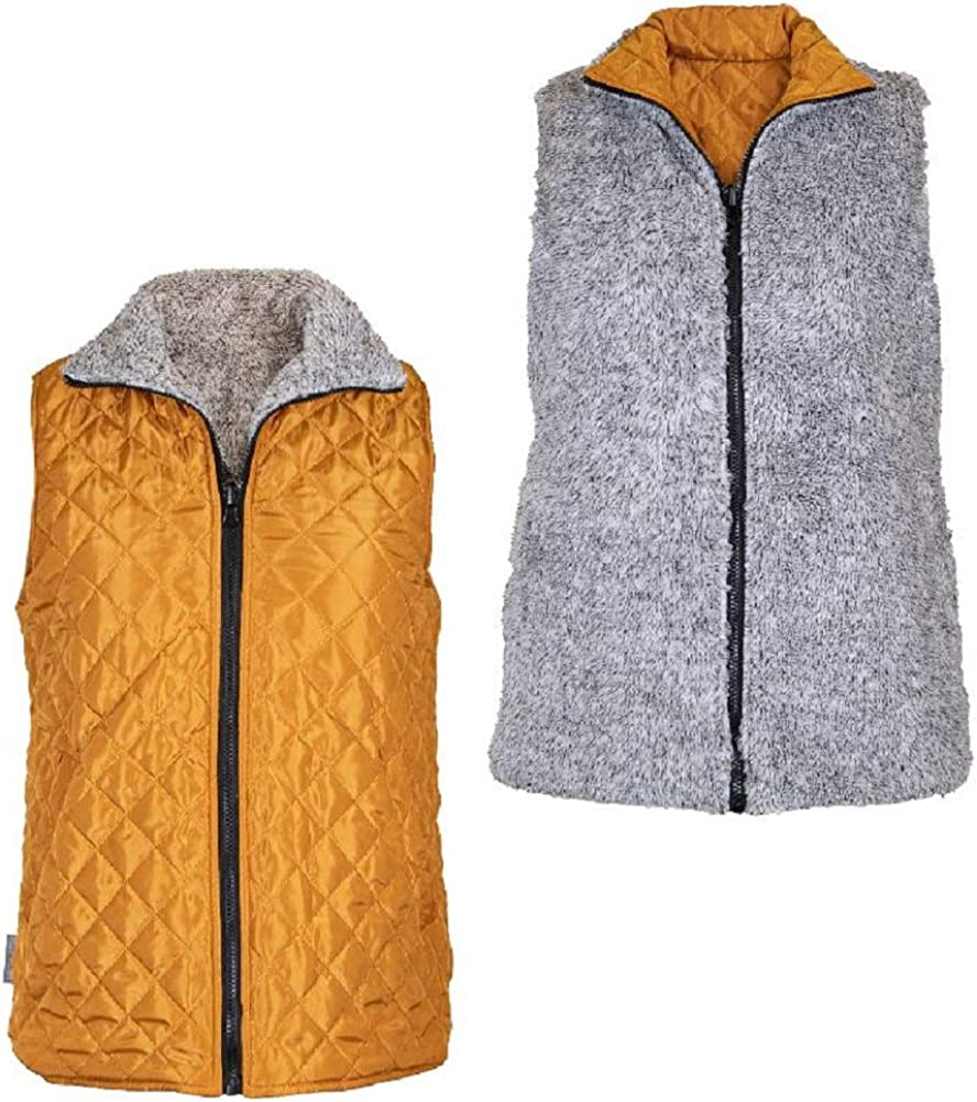 Simply Southern Reversible Vest Quilted or Fleece (Mustard, Small)