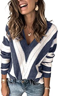 Womens V Neck Long Sleeve Ripped Distressed Pullover...