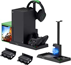 Vertical Cooling Stand for Xbox Series X, Dual Controller Charging Dock Station for Xbox Series X Cooler Cooling Fan with ...