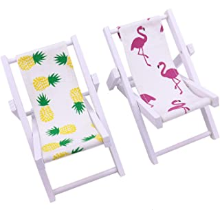 JETEHO 2 Pack Beach Chair Phone Stand Flamingo Pineapple Wooden Beach Chair Desk Stand for Smart Phone