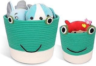 Haidms Cotton Rope Basket Medium Woven Storage Basket Set of 2,Decorative Frog Basket Storage Bin Organizer for Kids Toy B...