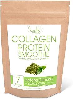 Sparkle Collagen Protein Smoothie Mix (Matcha Coconut) [7 Serves] VERISOL Collagen Peptides, Buffered Vitamin C, Chia Powd...