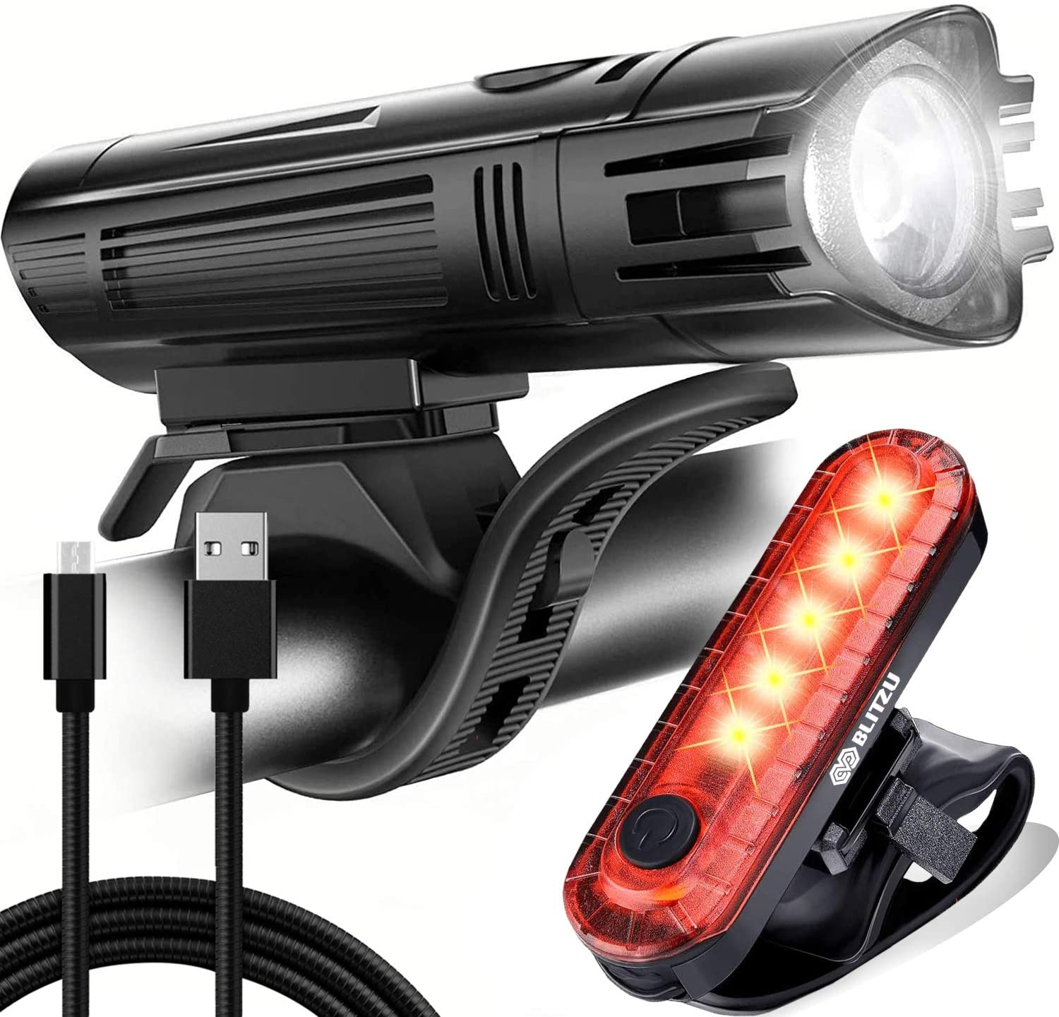 LED USB Bycicle Light Rechargeable Headlamp Headlight Bike Front Lamp Waterproof