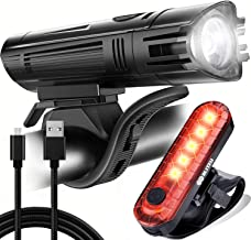 BLITZU Gator 450 Lumens Bike Lights Front and Back Set, Headlight and Tail Rear Light, USB Rechargeable Bicycle Lamp, Wate...