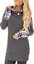 Yingkis Women's Long Sleeve Plaid Hoodies Tunic Tops Button Cowl Neck Casual Slim Blouse