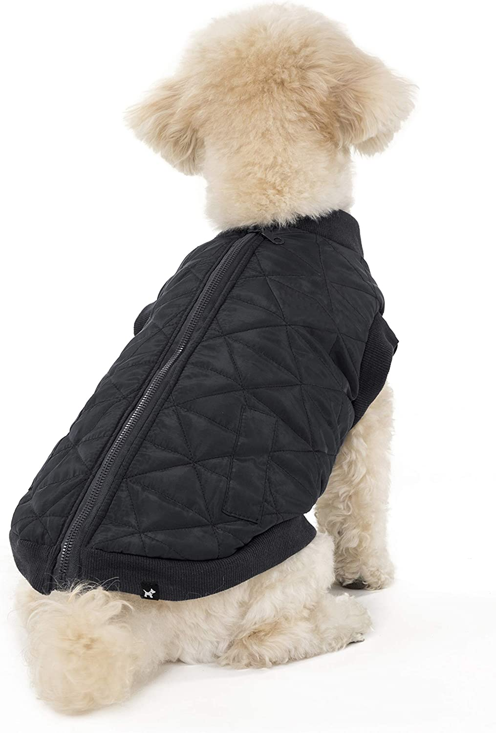 Hotel Doggy Quilted Zip Front Vest Dog Jacket  Black Polyester Dog Coat Small