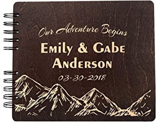 Wooden Engraved Our Adventure Begins Guest Book Album Customize Wedding Sign in Rustic Bride Groom Registry Guestbook (11