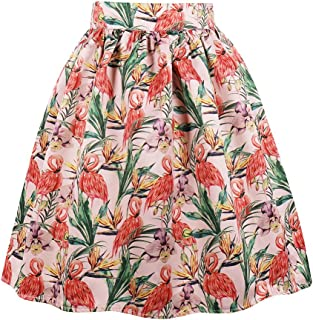 Women's Midi Pleated A Line Floral Printed Vintage Skirts
