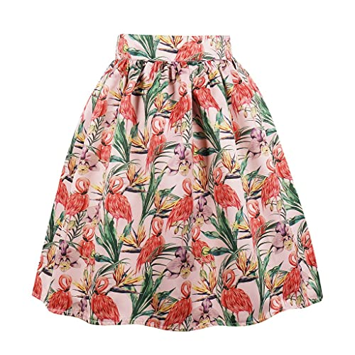 24f2d7923f Cleaivy Women's Midi Pleated A Line Floral Printed Vintage Skirts
