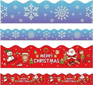 Christmas Bulletin Board Borders, Yoklili 2-Rolls Snowflakes Santa Claus Reindeer Elf Snowman Theme Scalloped Border Trim for Classroom Chalkboard Whiteboard Home Decoration, 72 ft