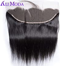 Ali Moda Malaysian Straight 13X4 Ear To Ear Lace Frontal Closure with Baby Hair Bleached Knots 100% Unprocessed Human Hair Natural Hairline 14 inch