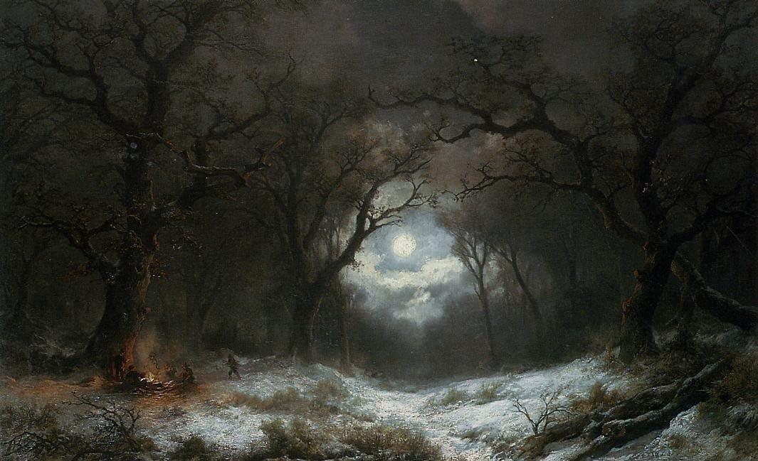 metal, canvas, fine art print glossmatte Fine Art Photo Print of Winter Landscape sunrise and moon in 12x18 16x24 20x30 24x36