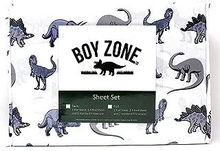 Boy Zone Dinosaur Print Full Size Sheet Set 4-Piece Set (Flat Sheet, Fitted Sheet, Standard Pillowcases) Soft and Wrinkle Free