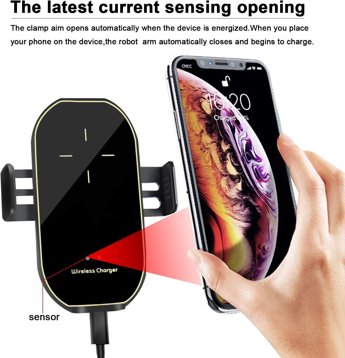 Car Charger Holder 10W Fast Charging for iPhone Xs Max//XR//X//8//8Plus Samsung S10//S9//S8//Note 8-Metal Black KMI CHOU Phone Holder for Car,Automatic Clamping IR Intelligent Wireless Car Charger Mount