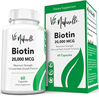 Hair, Skin and Nails Vitamins - Biotin 20,000 MCG B-7 Vitamin with Silica, N-Acetyl Cysteine, Inositol, PABA - Extra Strength Supplement for Faster Growth Now - Women and Men - 60 Veggie Pills