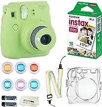 Fujifilm Instax Mini 9 Instant Camera (Lime Green) + 10 Fuji Instant Film Sheets + Convenient Instax Clear Case W/ Rainbow Strap + 6-Color Lenses & More