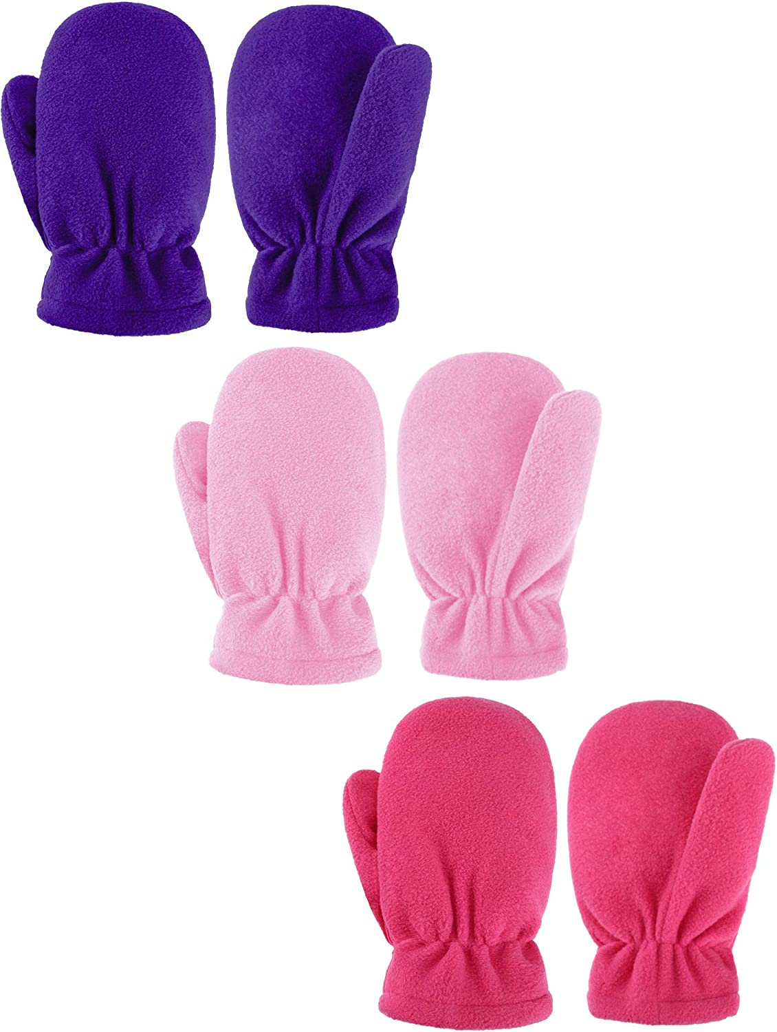 SATINIOR 3 Pairs Baby and Toddler Fleece Mittens Kids Winter Warm Mittens for Boy Girl