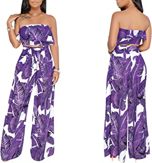Women's 2 Pieces Outfit Floral Sleeveless Tube Top Palazzo Long Pants High Waist Jumpsuits