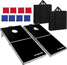 ZENY 4' x 2' Alumiunm Foldable Bean Bag Toss Cornhole Board Game Set Regulation Size Cornhole Boards & 8 Bags Set Playset Backyard Outdoor Portable