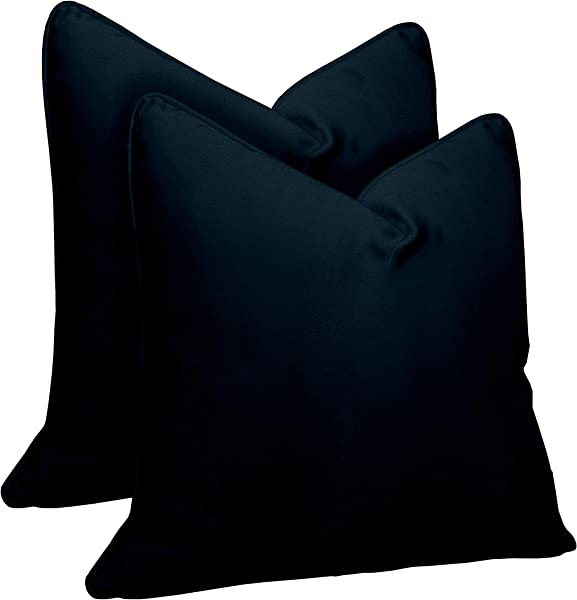 RSH D Cor Indoor Outdoor Set Of 2 Karate Chop Decorative Square Throw Pillow Cover Made Of Luxury Velvet Fabric Soft Shapeable Faux Feather Insert 22 X 22 Midnight Blue