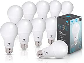 10-Pack LED Dimmable 60 Watt Equivalent Daylight A19 Light Bulb, Energy Star Rated, by Triangle Bulbs