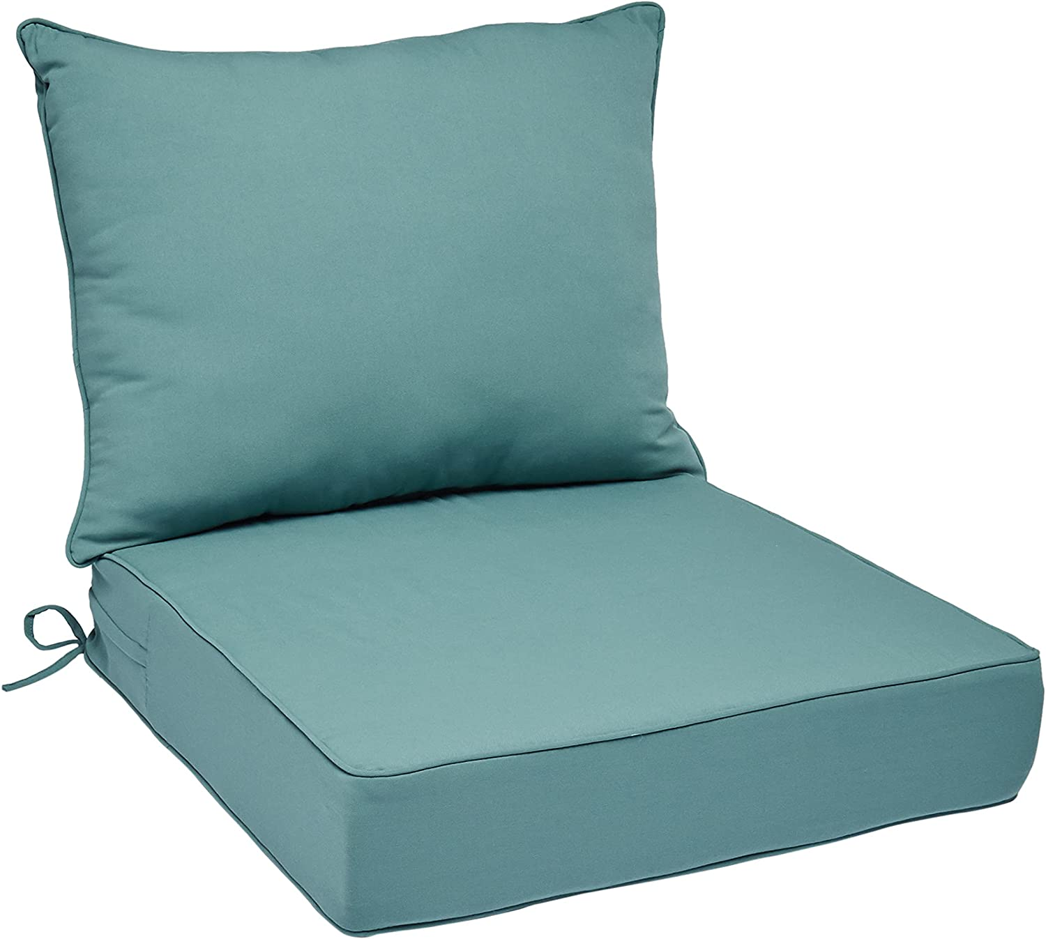 Amazon Basics Deep Seat Outdoor Patio Seat and Back Cushion Set 25 x 25 x 5 inches and 28 x 22 x 5 Inches, Cyan Blue